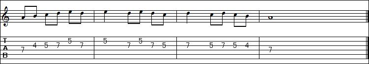 TAB譜の読み方(パターン2)
