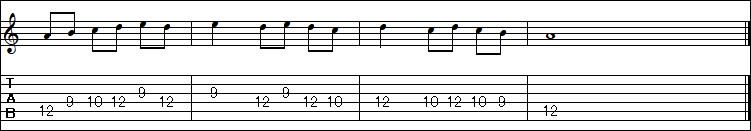 TAB譜の読み方(パターン3)